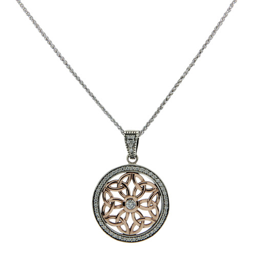 Sterling Silver and 10k Rose CZ Trinity Round Pendant By Keith Jack