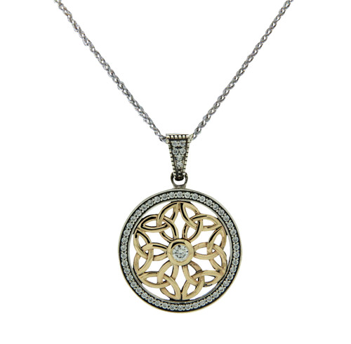 Sterling Silver and 10k CZ Trinity Round Pendant By Keith Jack