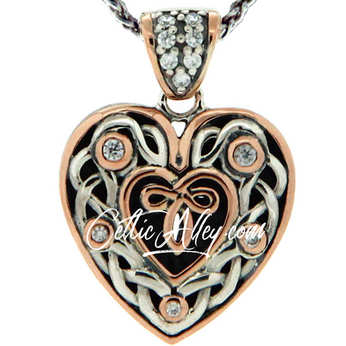 S/sil Oxidized + 10k Rose CZ Celtic Heart Small Pendant By Keith Jack
