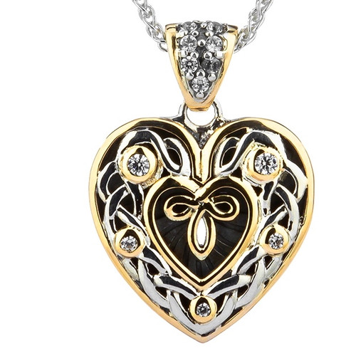S/sil + 10k CZ Celtic Heart Small Pendant By Keith Jack