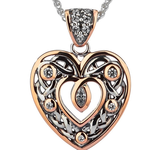 S/sil + 10k Rose CZ Celtic Open Heart Small Pendant By Keith Jack