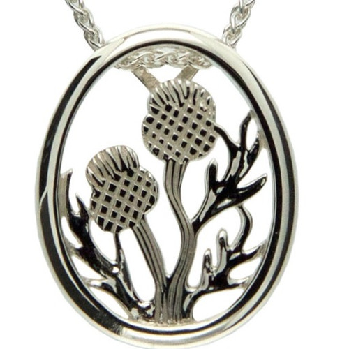 S/sil Thistle Framed Pendant By Keith Jack