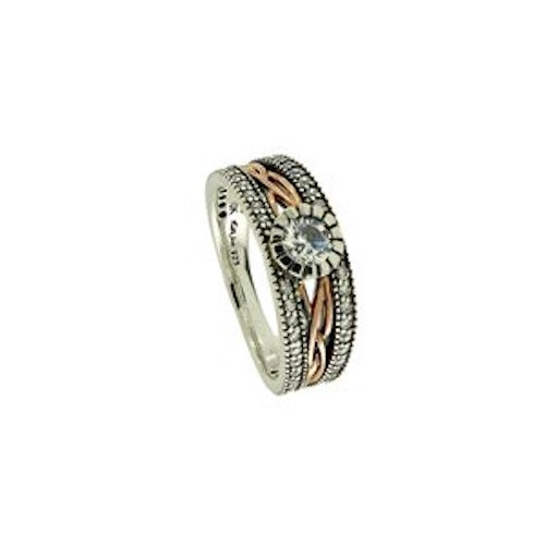 S/sil Oxidized + 10k Rose CZ Brave Heart Ring (Tapered)   Sizes 5-11 By Keith Jack