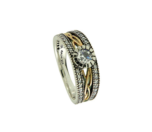 Sterling Silver Oxidized and 10k Yellow CZ Brave Heart Ring (Tapered)   Sizes 5-11 by KEITH JACK PRX8825-CZ