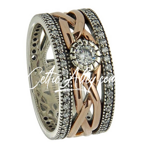 S/sil Oxidized + 10k Rose CZ Brave Heart Ring   Sizes 5-11 By Keith Jack