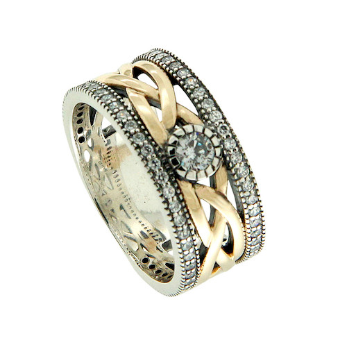 Sterling Silver Oxidized and 10k Yellow CZ Brave Heart Ring   Sizes 5-11 by KEITH JACK PRX8826-CZ