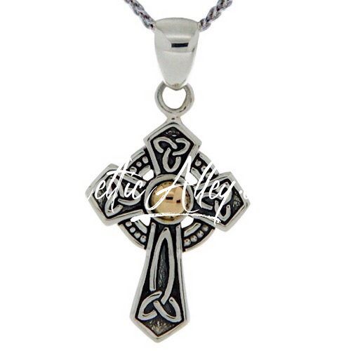 S/sil + 18k Hammered Circle Cross Pendant By Keith Jack PCRX9034
