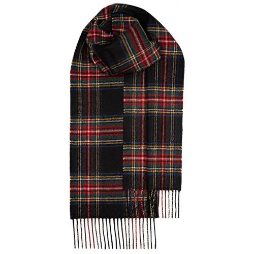 STEWART BLACK MODERN TARTAN LAMBSWOOL SCARF Made in Scotland