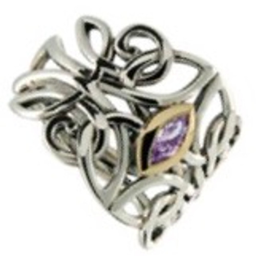 GUARDIAN ANGEL RING with Amethyst in Sterling Silver and 10k Yellow Gold by Keith Jack PRX7847-AM