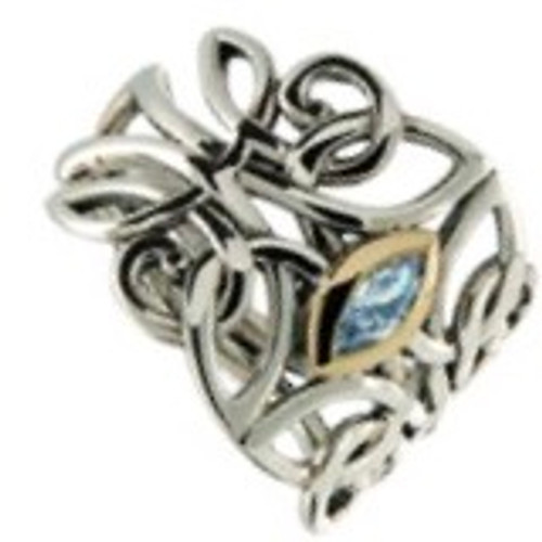 GUARDIAN ANGEL RING with Sky Blue Topaz in Sterling Silver and 10k Yellow Gold by Keith Jack PRX7847-BT