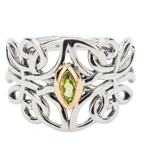 S/sil + 10k Peridot Guardian Angel Ring By Keith Jack