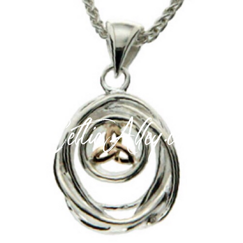 CELTIC CRADLE OF LIFE PENDANT SMALL in Sterling Silver and 10k Yellow Gold By Keith Jack PPX10479-S