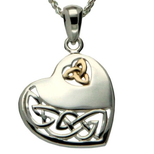 In Sterling Silver and 10k Yellow Gold CELTIC HEART PENDANT by Keith Jack PPX3640
