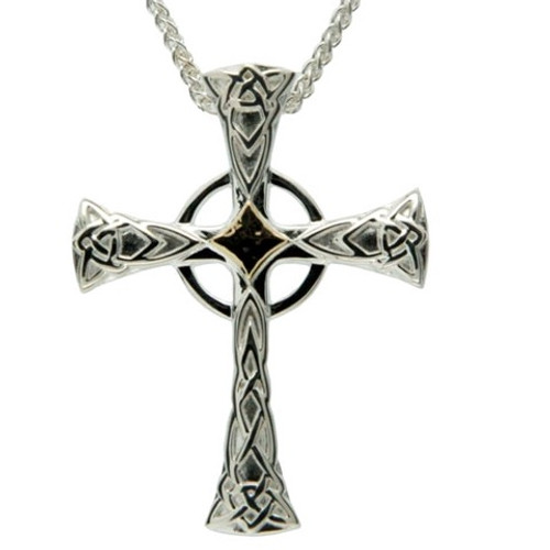 Sterling Silver + 10k Celtic Cross Small Pendant by KEITH JACK PCRX5378-S