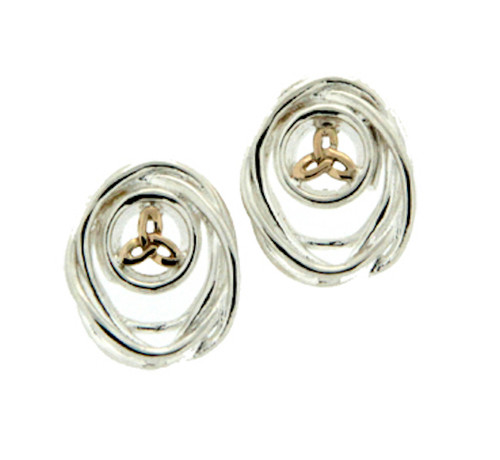 Sterling Silver and 10k Celtic Cradle of Life Post Earrings by  KEITH JACK PEX10480