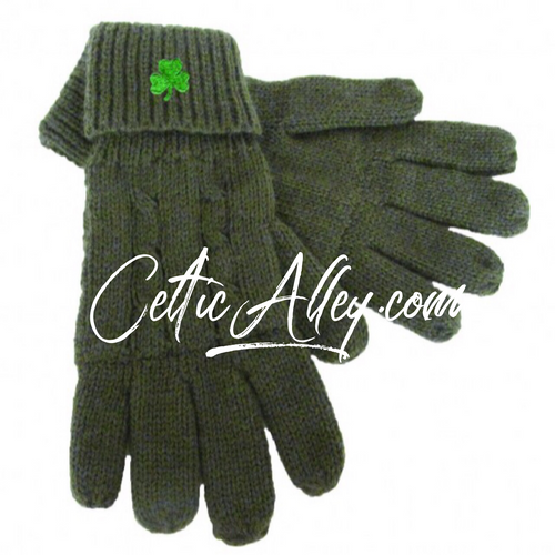 Olive Green Cable Knit Gloves With Embroidered Shamrock