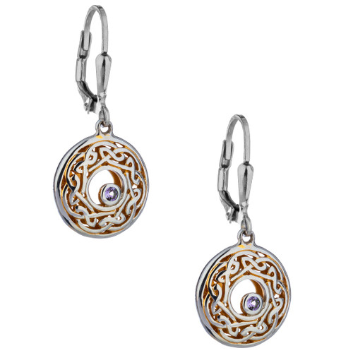 S/sil + 22k Gilded Window to the Soul Amethyst (2mm) Round Leverback Earrings By Keith Jack