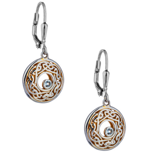 Sterling Silver and 22k Gilded Window to the Soul Sky Blue Topaz (2mm) Round Leverback Earrings by  KEITH JACK PEX7415-BT