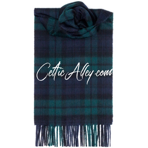 Deluxe 100% Cashmere Scarf In Black Watch Modern