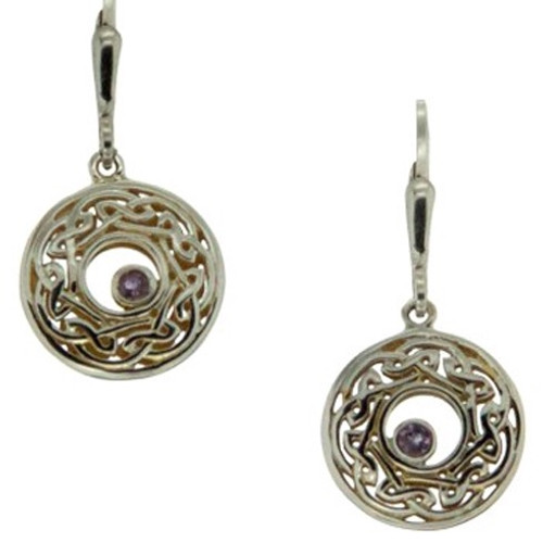Sterling Silver and 22k Gilded Window to the Soul Iolite (2mm) Round Leverback Earrings by  KEITH JACK PEX7415-IOL
