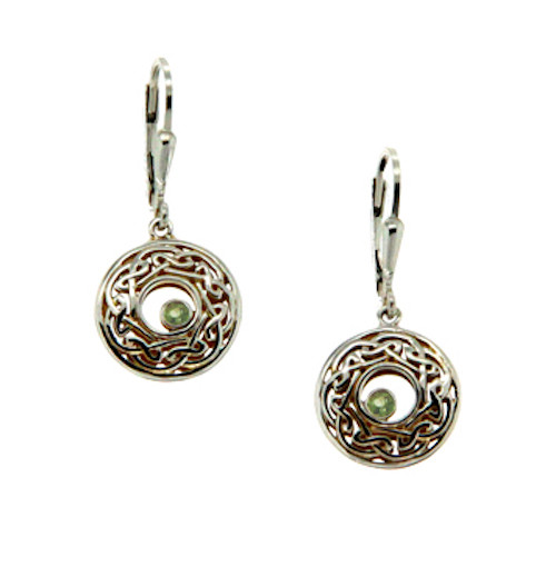 Sterling Silver and 22k Gilded Window to the Soul Peridot (2mm) Round Leverback Earrings by  KEITH JACK PEX7415-PER