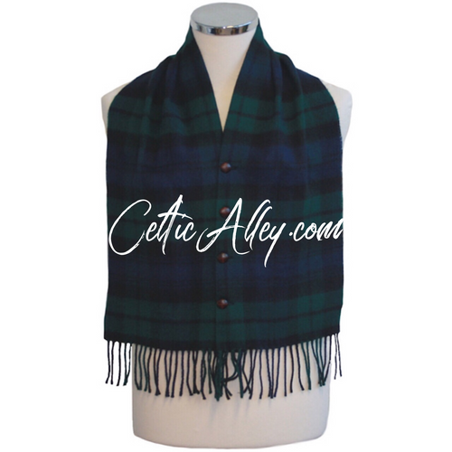 Tartan Lambswool Waist Coat Vest In Black Watch