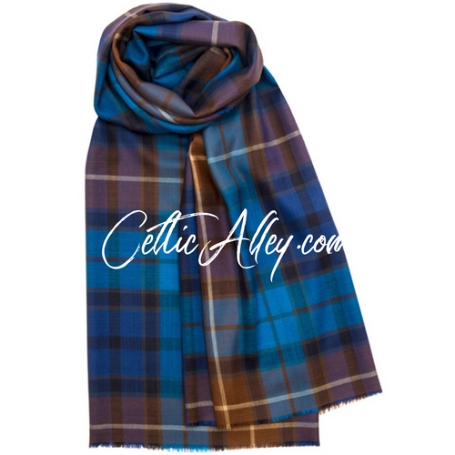 Extra Fine Merino Wool Stole In Buchanan Blue