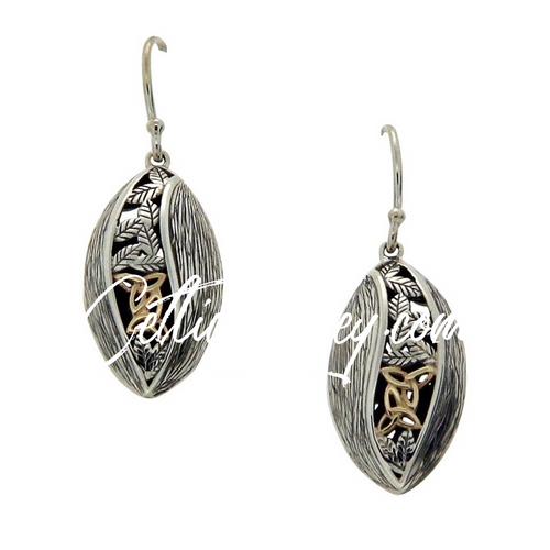 S/sil Oxidized + 10k Trinity Leaf Hook Earrings By Keith Jack