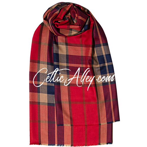 Extra Fine Merino Wool Stole In Thompson Red Antique