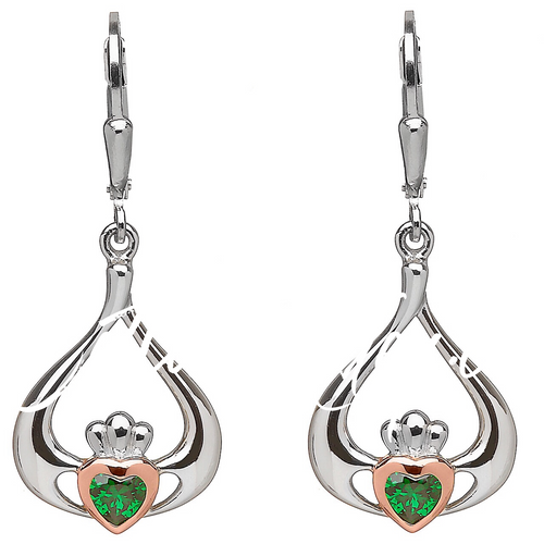 Sterling Silver & Rose gold Claddagh drop earrings with center  green stone