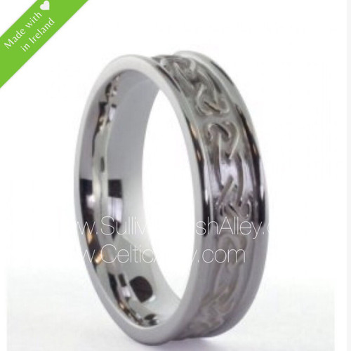 Men's Celtic Heart Love Knot Band Sterling Silver Size 10.5