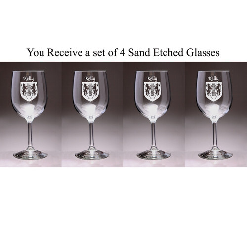 Irish Coat of Arms Family Crest Personalized Wine Glass Set - Set of 4 (Sand Etched)