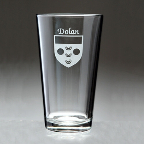 Irish Coat of Arms Family Crest Personalized Pint  Glass Set - Set of 4 (Sand Etched)