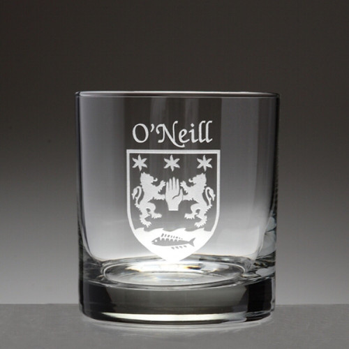 Irish Coat of Arms Family Crest Personalized Tumbler Glass Set - Set of 4 (Sand Etched)
