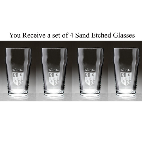 Irish Coat of Arms Family Crest Personalized Pub Glass Set - Set of 4 (Sand Etched)