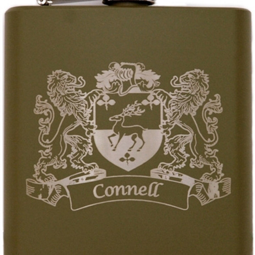 Irish  Coat of Arms Family Crest Personalized Green Flask Set of Two