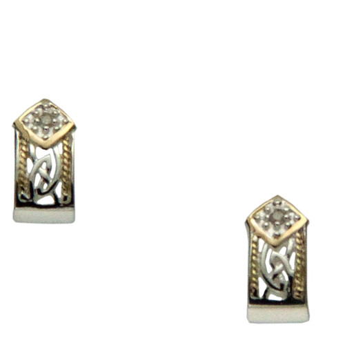 Sterling Silver and 10k Window to The Soul Diamond (1.5mm) Post Earrings by  KEITH JACK  PEX5424