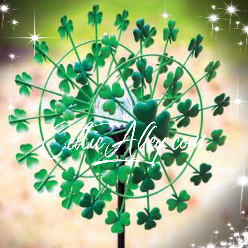 This shamrock solar garden spinner is going to light up your yard this season.  There is a solar light in the center which creates a beautiful display both day and night. 33 x 12 x 6 inches Made of metal