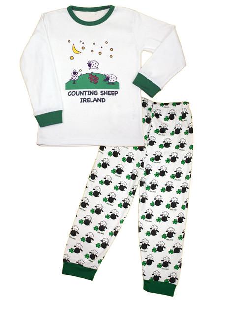 Kids Counting Sheep Pajamas in White & Green