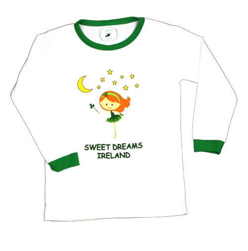 Kids Fairy Ireland Pajamas in White & Green