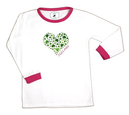 Kids Ireland Heart Pajamas in White & Green