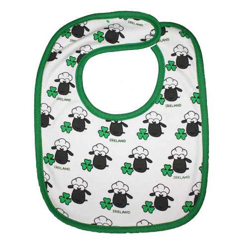 Multi-Sheep Baby Bib in White (ONE SIZE)