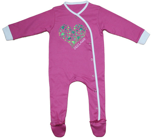 Shamrock Heart Babygrow in Pink