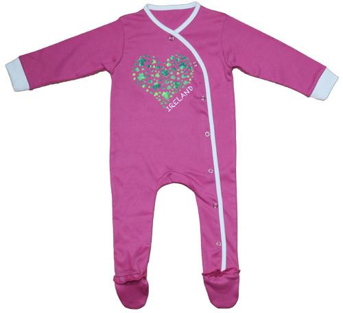 Shamrock Heart Babygrow in Pink
