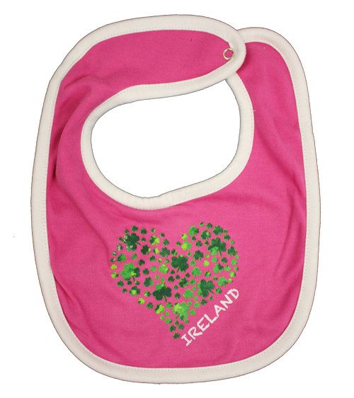 Shamrock Heart Baby Bib in Pink (ONE SIZE)
