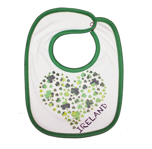 Shamrock Heart Baby Bib in White (ONE SIZE)