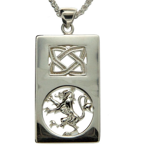 S/sil Lion Rampant Rectangle Pendant By Keith Jack