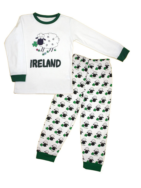 Kids Sheep Ireland Pajamas in White & Green