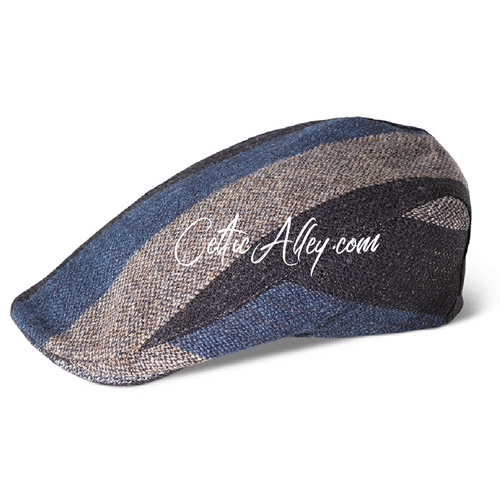 Hanna Hats of Donegal Tweed Touring Cap in Grey Stripe Hand Made in Ireland
