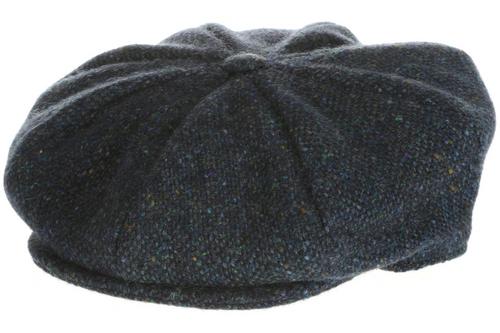 Hanna Hat Donegal IRISH Tweed 8 Piece Peaky Blinders Style Cap in Ocean Blue HandMade in Ireland
